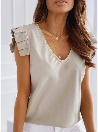 Sólido Cuello en V Sin mangas Casual Elegante Camisetas sin mangas