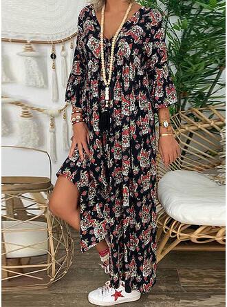 Print/Floral Long Sleeves Shift Casual/Boho/Vacation Maxi Dresses