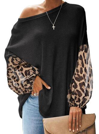 Leopard Eine-Schulter Lange Ärmel Freizeit Blusen