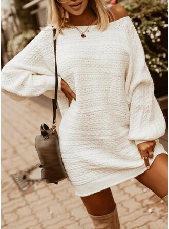 固体 Knit 長袖 バットスリーブ シフトドレス 膝上 カジュアル セーター ドレス