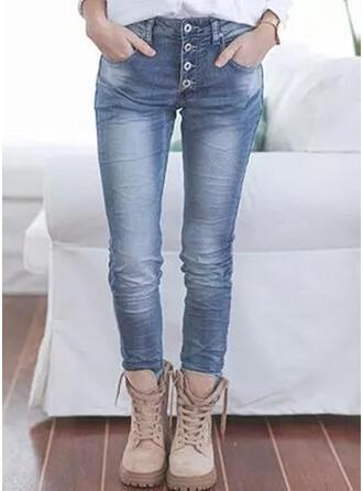 Solid Jean Lang Casual Plus størrelse Lomme Button Denim & Jeans