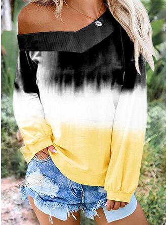 Tie Dye Un Hombro Manga Larga Casual Camisetas