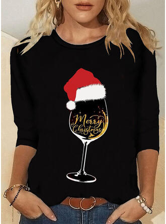 Natal Estampado Carta Gola Redonda Manga Comprida Camisetas