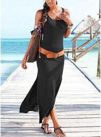 Sólido Sin mangas Cubierta Casual/Vacaciones Maxi Vestidos
