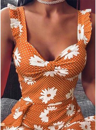 Impresión/Floral/Lunares Sin mangas Acampanado Sobre la Rodilla Casual/Vacaciones Vestidos