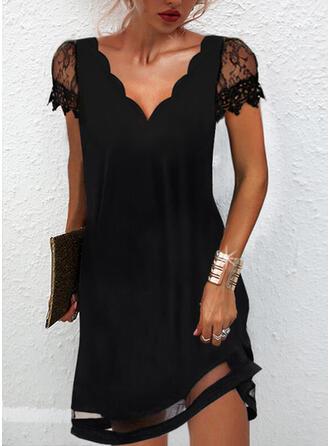 固体 レース 半袖 シフトドレス 膝上 リトルブラックドレス/エレガント ドレス