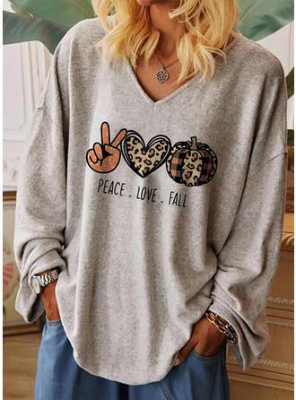 Impresión Leopardo Corazón Cuello en V Manga Larga Casual Halloween Camisetas