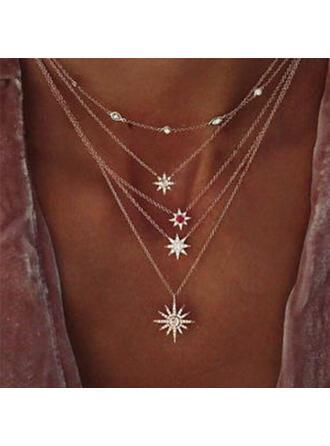 Bohemio En capas Luminoso Estrella Aleación con Estrella Dom Collares (Juego de 5)