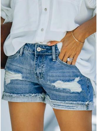 Sólido Algodón Por encima de la rodilla Elegante Tallas Grande Bolsillo shirred rasgados Botones Pantalones Pantalones cortos Vaqueros