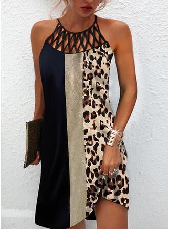 Impresión/Trozos de color/Leopardo Sin mangas Vestidos sueltos Sobre la Rodilla Casual Vestidos