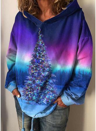 Impressão Floresta Manga comprida Camisola de Natal
