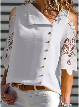 Solide Kant Cold Shoulder 3/4 Mouwen Dichtknopen Overhemd