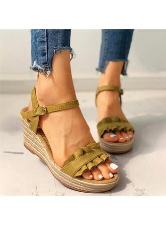 Dla kobiet PU Obcas Koturnowy Sandały Platforma Koturny Otwarty Nosek Buta Obcasy Z Marszczenie Jednolity kolor obuwie