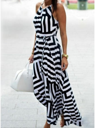 W paski Bez rękawów W kształcie litery A Casual Midi Sukienki
