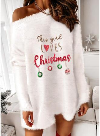 クリスマス 印刷 ハート 文字 ワンショルダー パーティー セータードレス