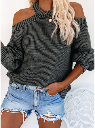 Solid Ribbed Cold Shoulder Casual Sweaters