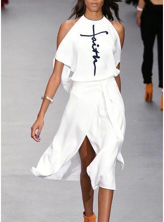 Print Short Sleeves/Cold Shoulder Sleeve A-line Skater Casual Midi Dresses