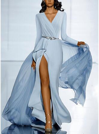 Jednolita Długie rękawy W kształcie litery A Łyżwiaż Przyjęcie/Elegancki Maxi Sukienki