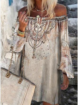 Impresión Manga Larga Tendencia Sobre la Rodilla Casual Vestidos