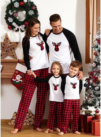 Cor-Bloco Deer Xadrez Família Combinando Natal Pijama