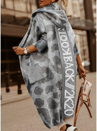 Pocket Leopard Hooded Casual Long Cardigan