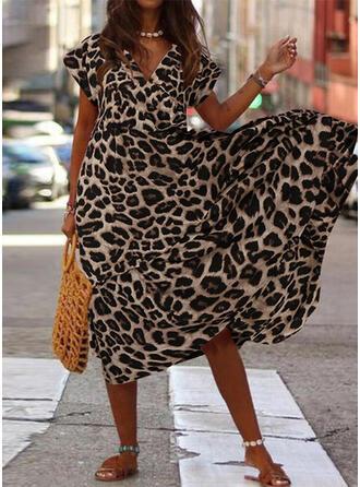 Leopardo Manga Corta Acampanado Casual/Elegante Midi Vestidos