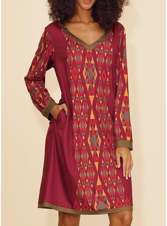 Print Long Sleeves Shift Knee Length Christmas/Casual/Boho/Vacation Dresses