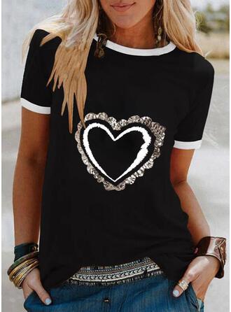 Hjärta Print Paljetter Rund-ringning Korta ärmar T-tröjor