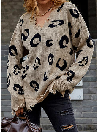 Print Leopard V-Neck Casual Sweaters