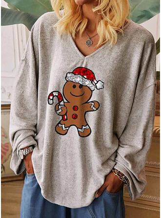 Print Pailletten V-hals Lange Mouwen Casual Kerstmis T-shirts