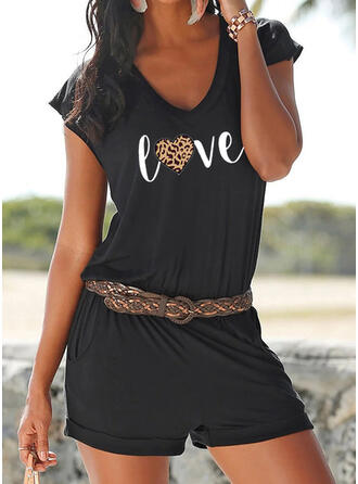 Print Animal V-Neck Short Sleeves Casual Vacation Romper