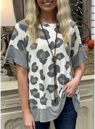 Leopard Rund-ringning Korta ärmar T-tröjor