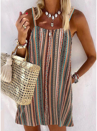 Stripe Splice color U-Neck Vintage Boho Cover-ups Swimsuits