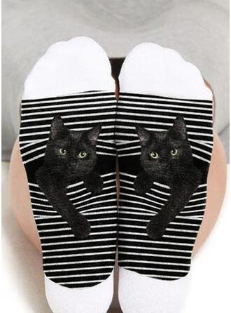 Animal/Impresión Respirable/Calcetines de la tripulación/Gato negro/Unisexo Calcetines