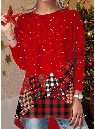 Nadruk Okrągły dekolt Długie rękawy Casual Boże Narodzenie Bluzki
