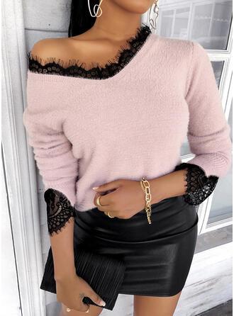 Koronka Dekolt w kształcie litery V Casual Swetry
