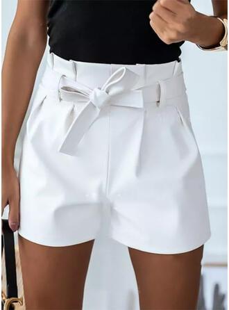 Sólido Por encima de la rodilla Casual Tallas Grande Encajar shirred Pantalones Pantalones cortos