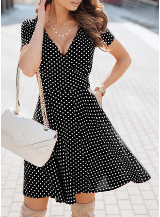 PolkaDot 1/2 Sleeves A-line Knee Length Casual Skater Dresses