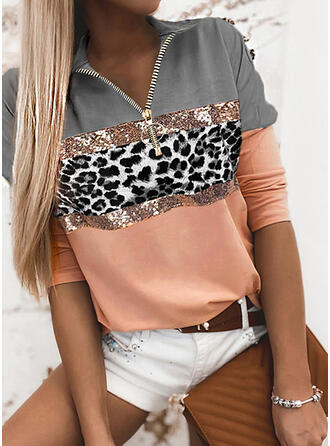 Color Block Sequins Leopard Lapel Long Sleeves Casual Blouses