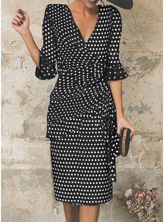 PolkaDot 1/2 Sleeves Sheath Knee Length Party/Elegant Dresses