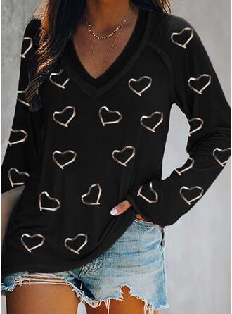 Hjärta Print V-ringning Långa ärmar T-tröjor