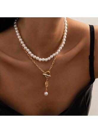 med Guldpläterad Kvinnor Damer' Halsband 2 st