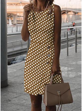 PolkaDot Sleeveless Bodycon Knee Length Casual Dresses