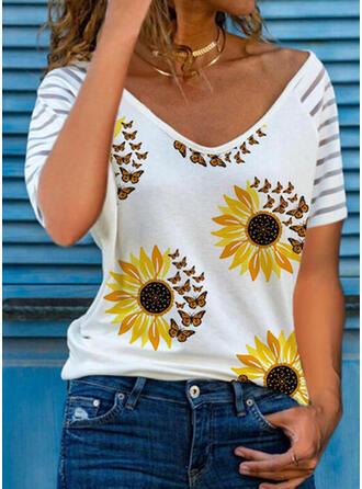 Animal Print Sunflower Print V-Neck Short Sleeves T-shirts