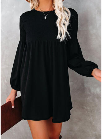 Solid Long Sleeves/Lantern Sleeve Shift Above Knee Little Black/Elegant Dresses