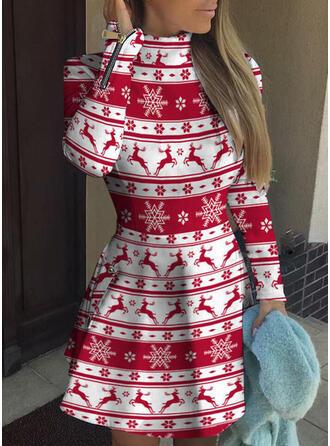 Állatminta Hosszú ujjú A-vonal Térd feletti Karácsony/Hétköznapokra Łyżwiaż φορέματα