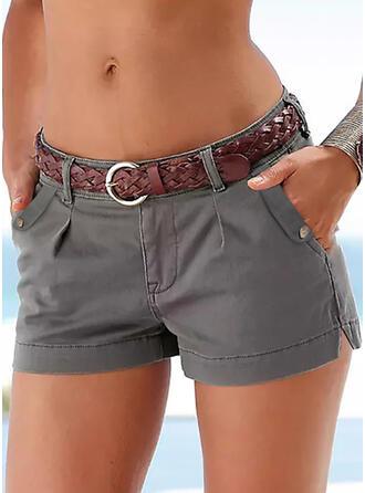 Sólido Por encima de la rodilla Casual Tallas Grande Bolsillo shirred Pantalones Pantalones cortos
