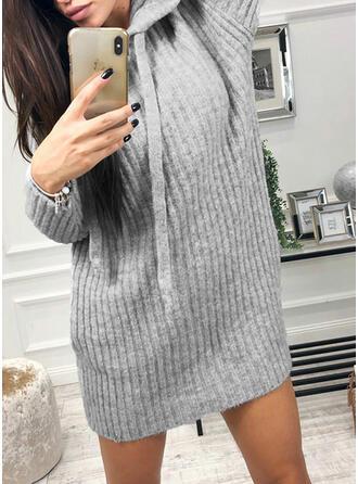 Sólido Capucha Vestido de Suéter
