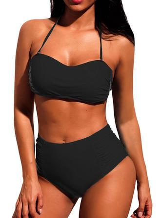 Enfärgad Hög Midja Grimma V-ringning Sexig Klassisk stil bikini Badkläder