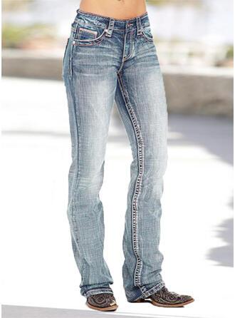 fickor Shirred Extra stor storlek Lång Mager Denim & Jeans